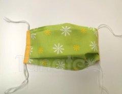 Rouška - Zelená louka - žlutooranžový lem - 2vrstvá s kapsou designové roušky