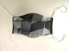 Rouška - Šedočerné tvary - černý lem - 2vrstvá s kapsou