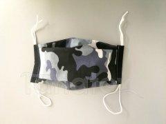 Rouška - Maskáč - černý lem - 2vrstvá s kapsou designové roušky