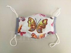 Rouška - Motýlci - šedý lem - 2vrstvá s kapsou designové roušky