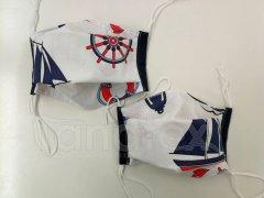 Rouška - Námořník - černý lem - 2vrstvá s kapsou designové roušky