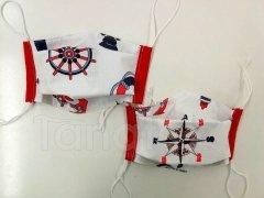 Rouška - Námořník - červený lem - 2vrstvá s kapsou designové roušky
