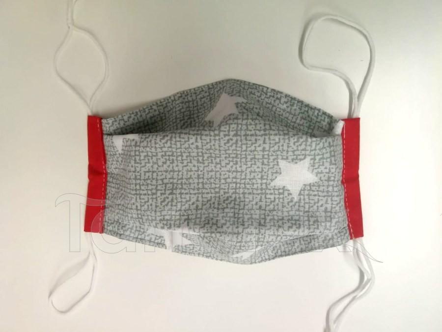Rouška - Hvězdičky v šedém s červeným lemem - 2vrstvá s kapsou