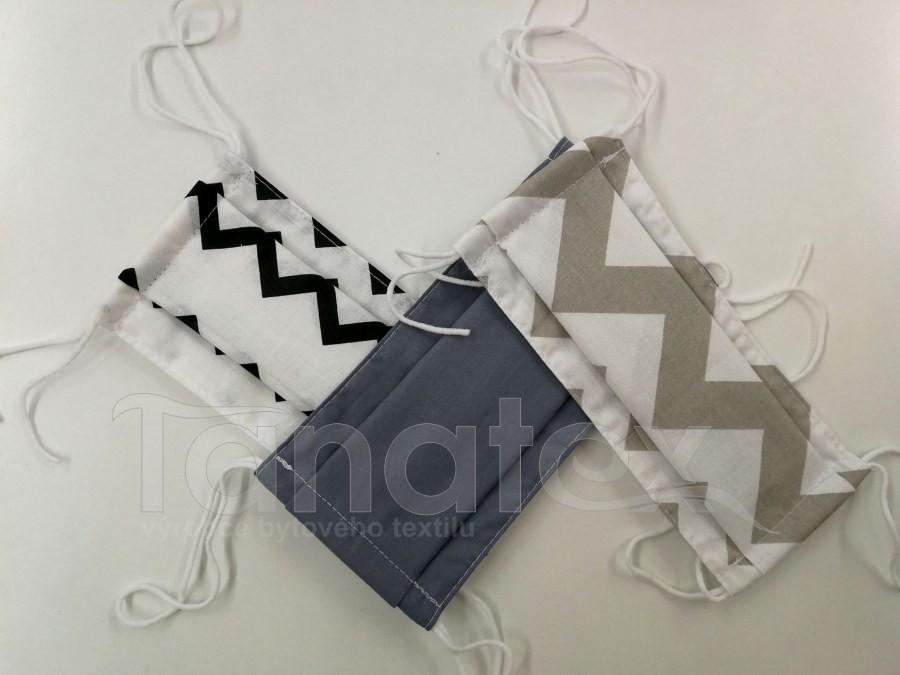 Textilní rouška 2vrstvá s KAPSOU pro dospělé - klasik