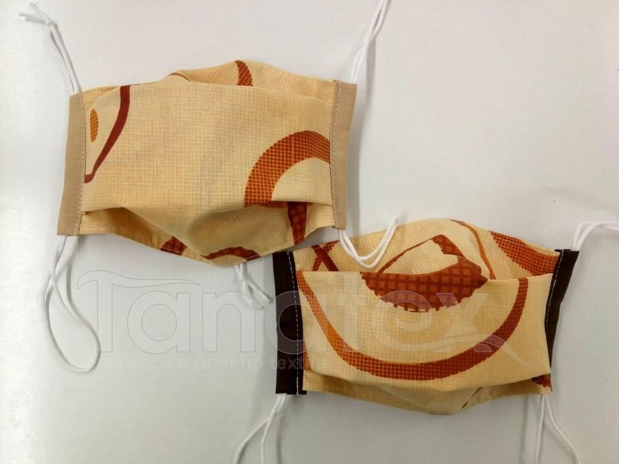 Rouška - Pískové kruhy - 2vrstvá s kapsou - designové roušky