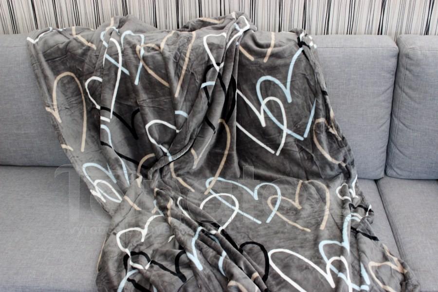 Deka mikro de luxe - srdce na kovově šedé