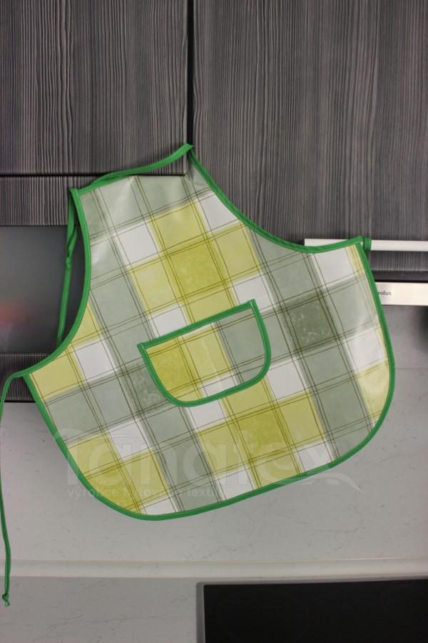 Dětská zástěrka klasik - omyvatelná Zelená kostka - zelená paspule - Zástěrky