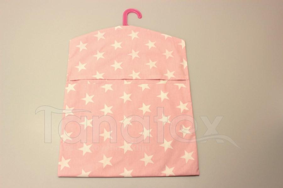 Kapsář na ramínko - hvězdy na růžové - kapsář do školy