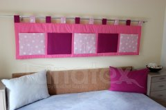 Kapsář - Růžový - fuchsiové kapsy a hvězdičky na růžové kapsář velký
