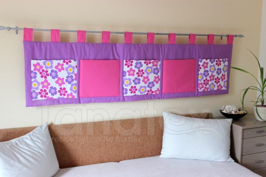 Kapsář - Fialový - kapsy fialové kytičky a uni růžové