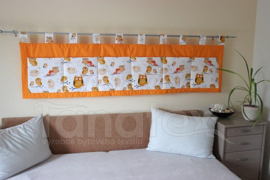 Kapsář - Oranžový - sovičky - kapsář velký
