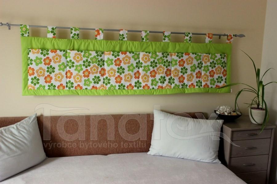 Kapsář - Zelený - kytičky zelené a žlotooranž - kapsář velký