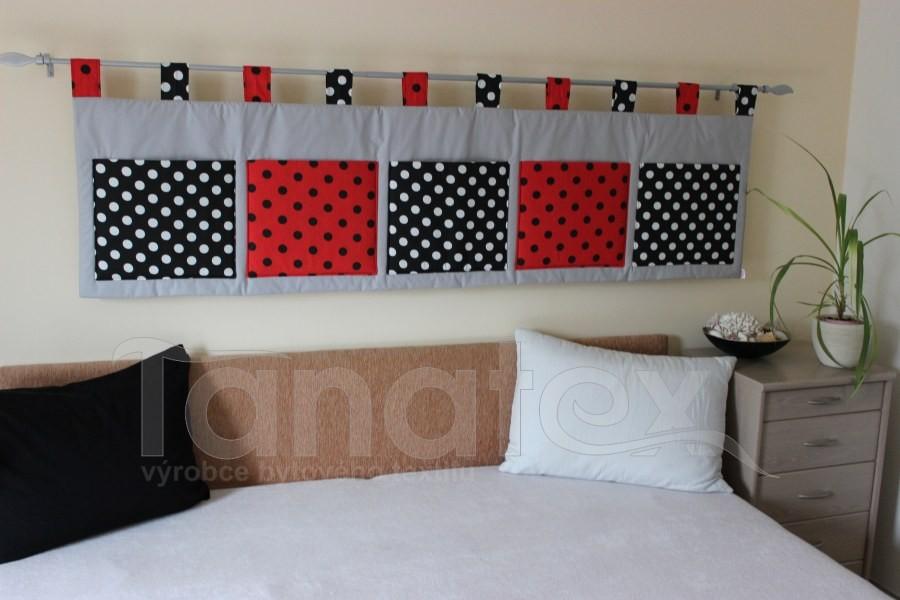 Kapsář - Šedý - puntíky černé a červené - kapsář velký