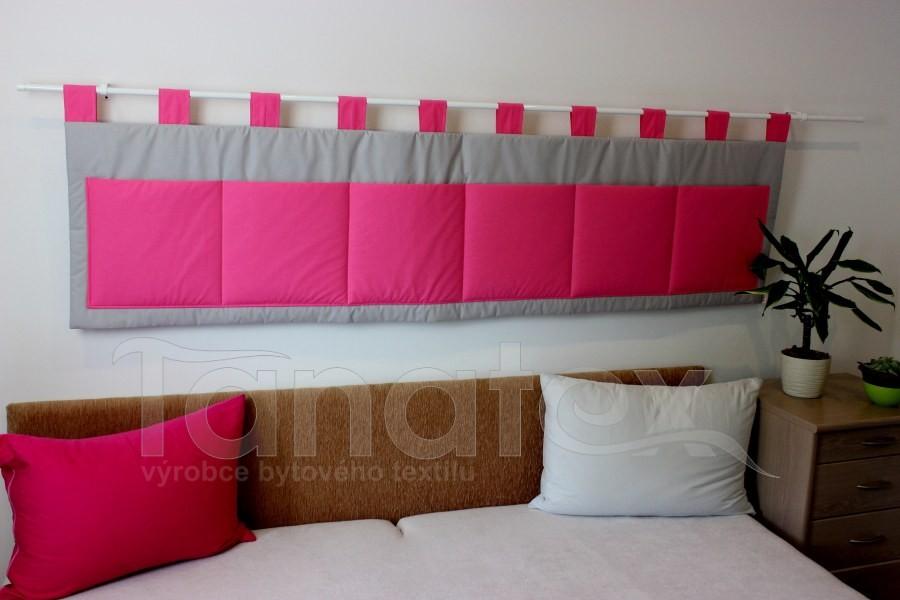Kapsář - Šedý - sytě růžové kapsy