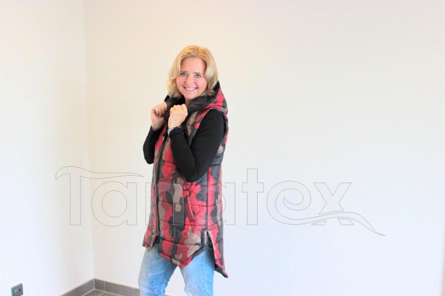Luxusní dámská vesta - PL - maskáč červený