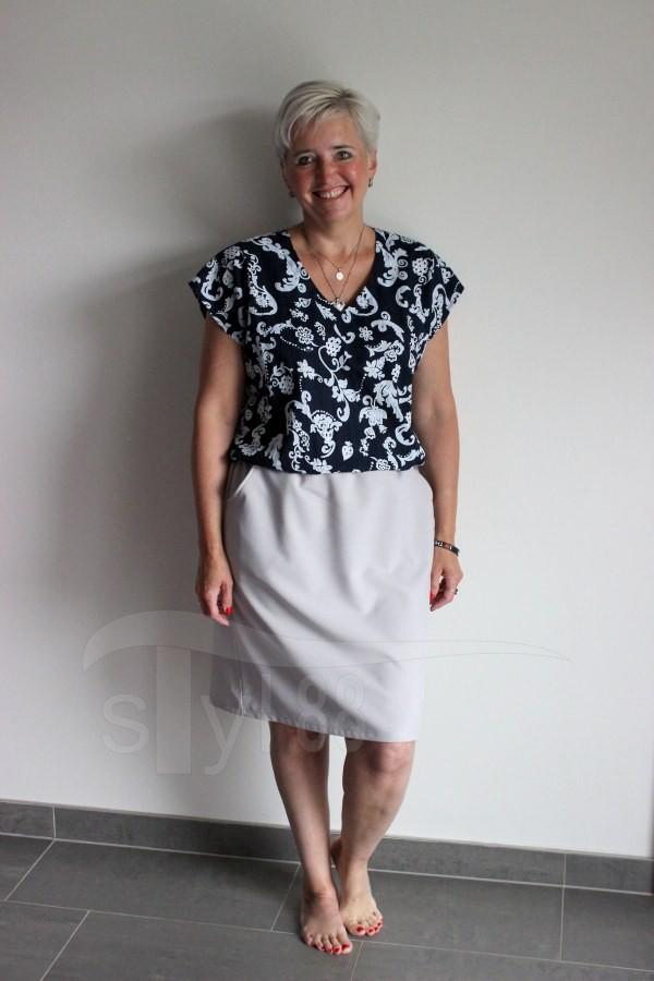 Letní šaty do gumy modré ornamenty - uni šedá - Letní šaty do gumy