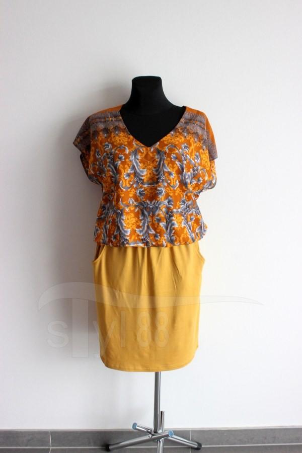 Letní šaty do gumy hořčicové ornamenty - uni hořčicová - Letní šaty do gumy