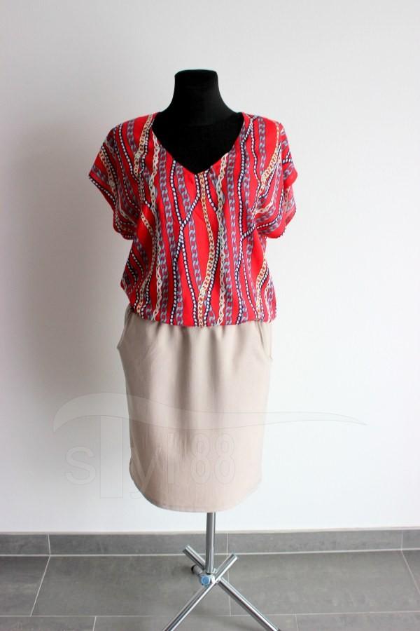 Letní šaty do gumy červené řetízky - uni béžová - Letní šaty do gumy