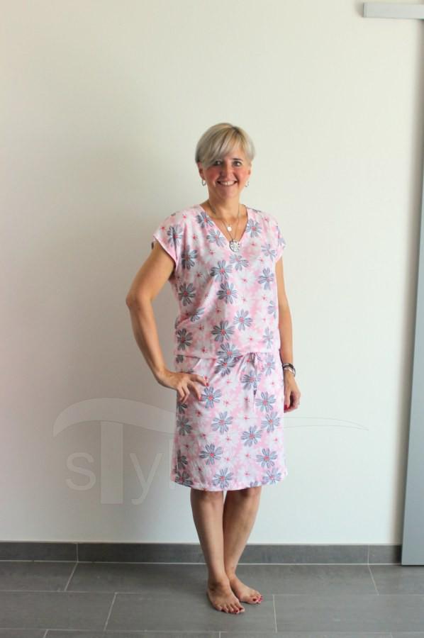 Letní šaty do gumy růžové kopretiny - Letní šaty do gumy