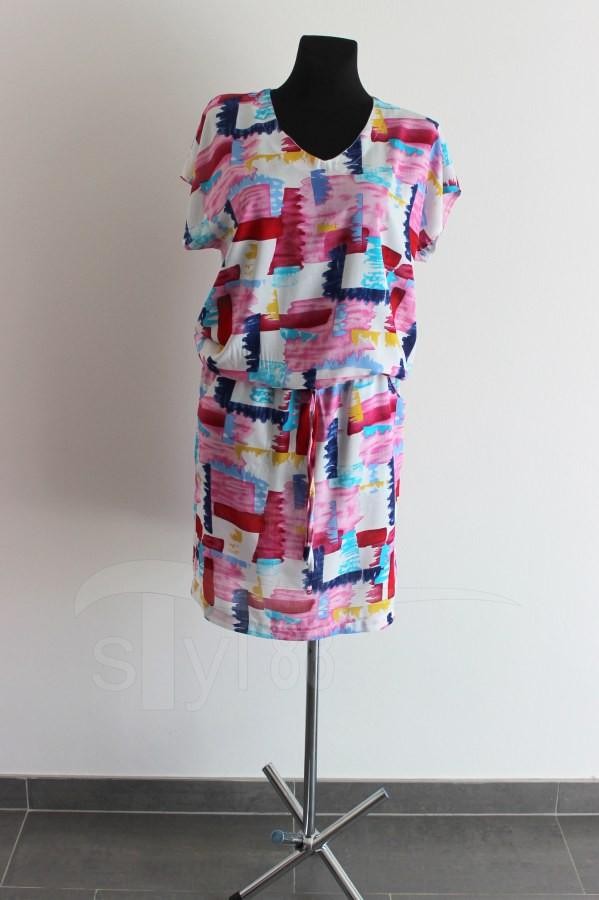 Letní šaty do gumy barevné cihličky - Letní šaty do gumy