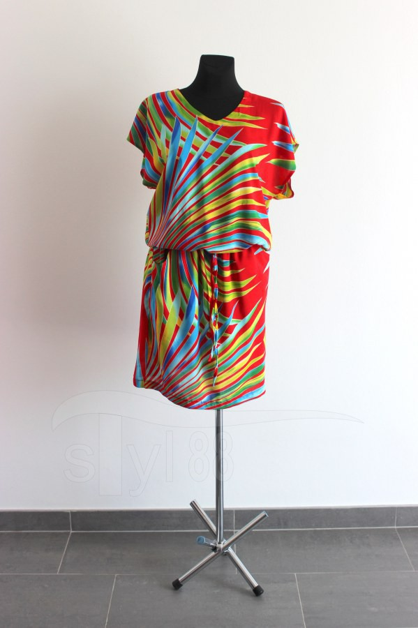 Letní šaty do gumy palmové listy na červené - Letní šaty do gumy