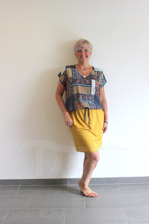 Letní šaty do gumy patchwork - uni hořčicové - Letní šaty do gumy