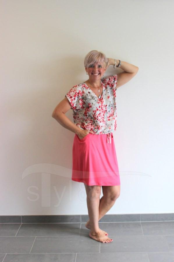 Letní šaty do gumy korálové větvičky - uni korál - Letní šaty do gumy