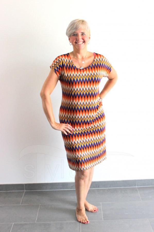 Úpletové šaty Cik cak oranžový