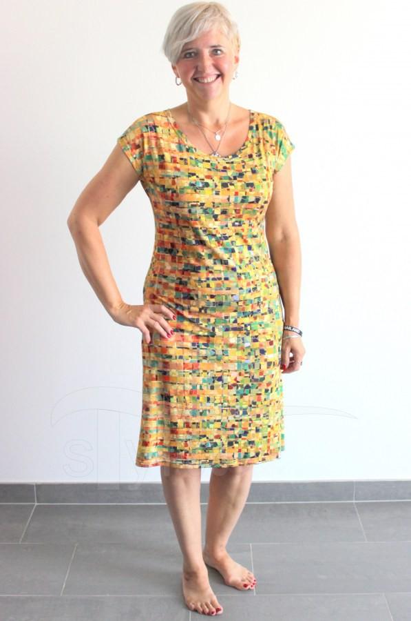 Úpletové šaty Žlutozelené obdelníčky