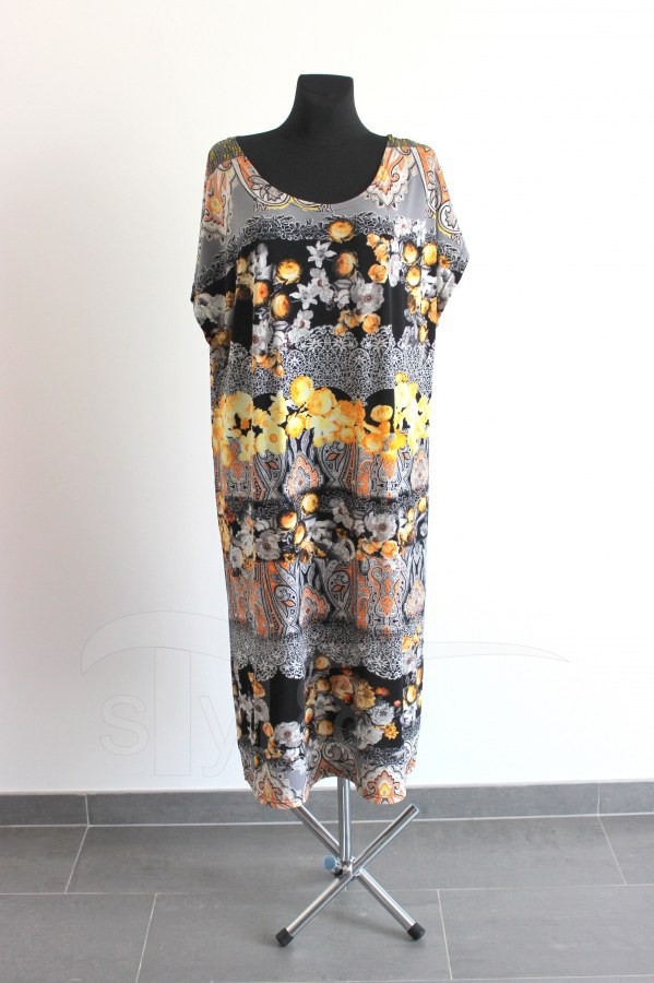 Úpletové šaty Žluté květy