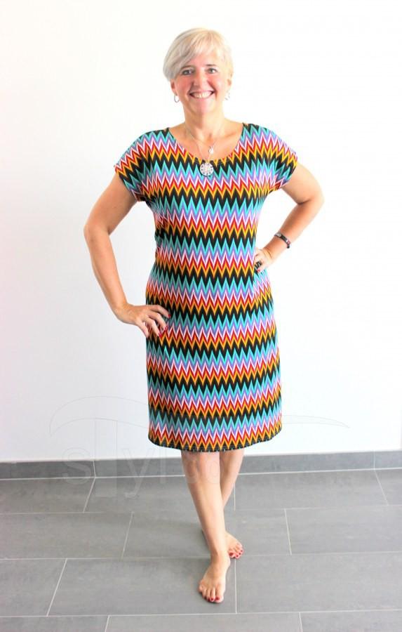 Úpletové šaty Cik cak tyrkysový