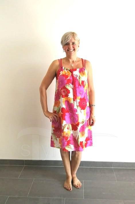 Letní šaty na ramínka - Barevné květy lněné - Letní šaty na ramínka