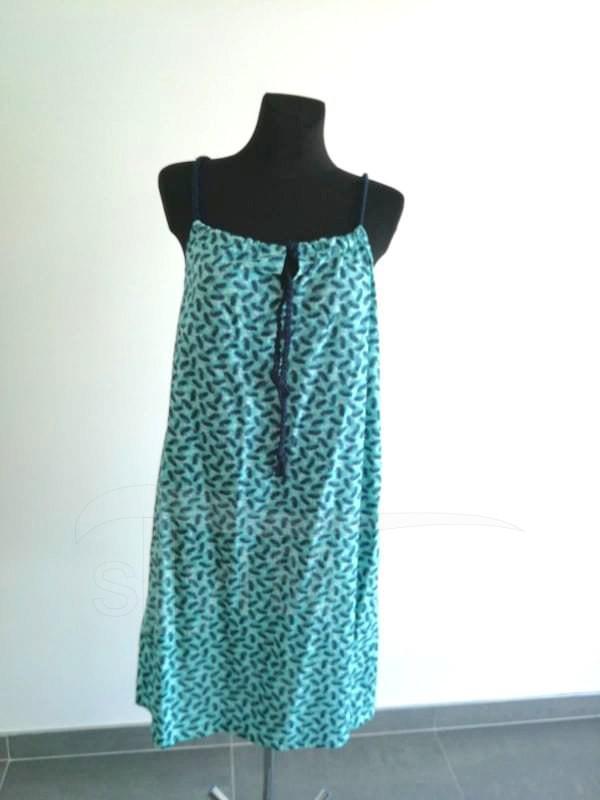 Letní šaty na ramínka - Tyrkysová pírka - Letní šaty na ramínka