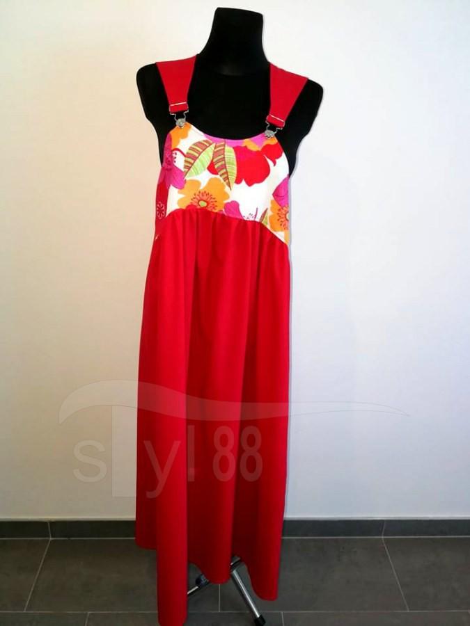Šaty s laclem - červené - pestré květy len