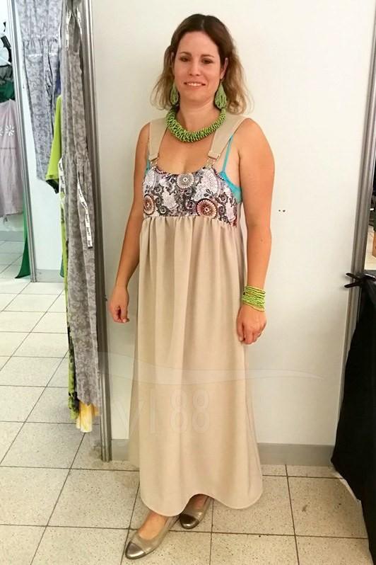 Šaty s laclem - béžové - mandaly - Dámské šaty s laclem