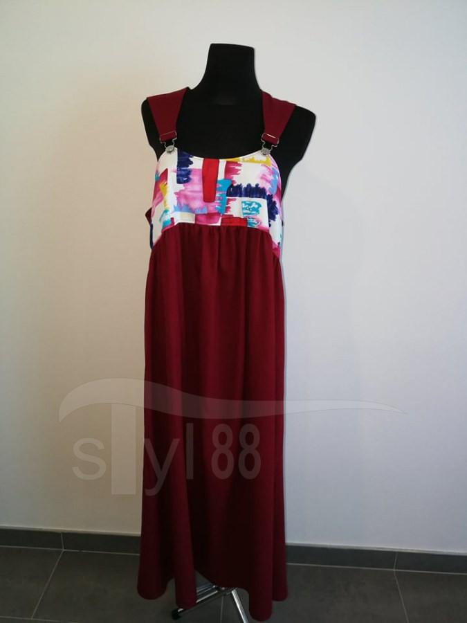 Šaty s laclem - vínové - pestrá abstrakce