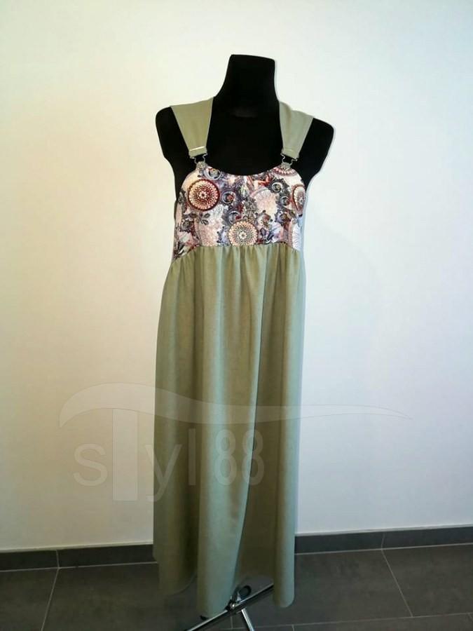 Šaty s laclem - olivové - mandaly - Dámské šaty s laclem