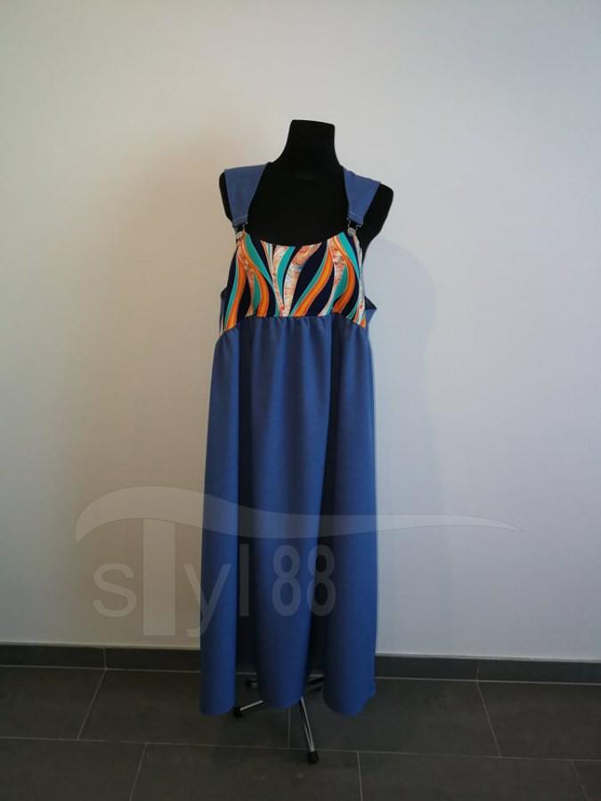 Šaty s laclem - petrolejové - oranžové vlny - Dámské šaty s laclem
