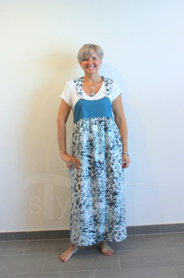 Šaty s laclem - tyrkys abstrakce - petrolejové