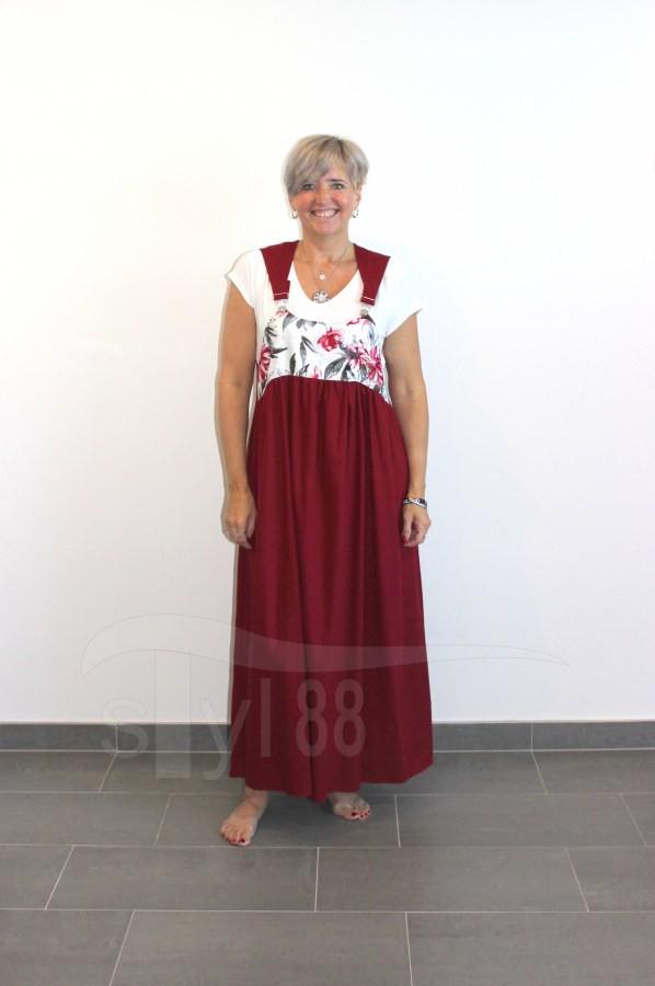Šaty s laclem - vínové - vínové květy