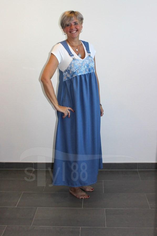 Šaty s laclem - modré - větvičky