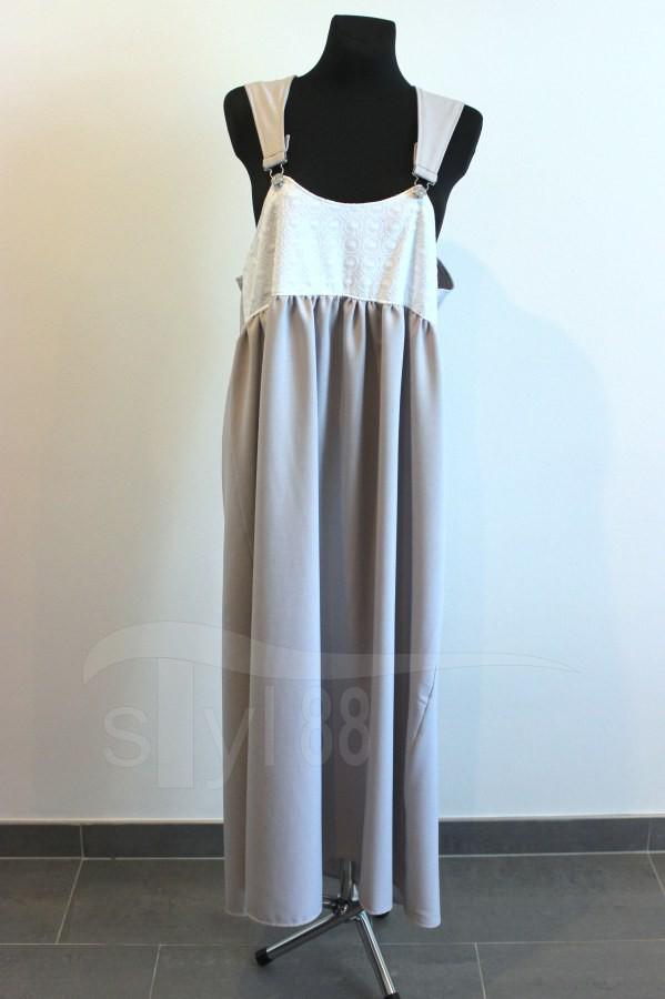 Šaty s laclem - šedé - bílá  vyšívaná bavlna