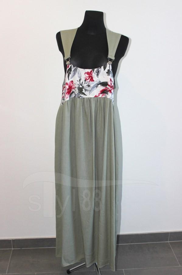 Šaty s laclem - olivové - vínové květy