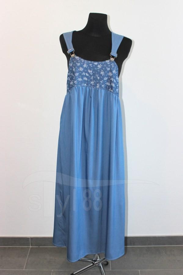 Šaty s laclem - modré - kytičky na modré