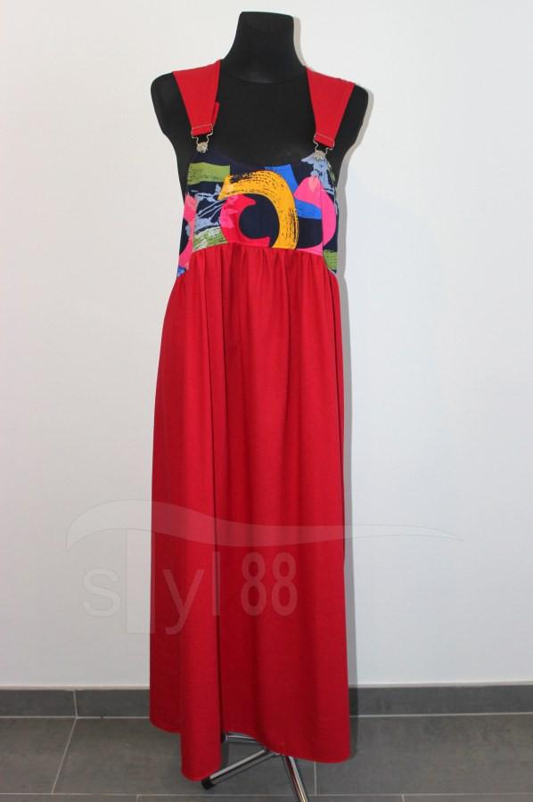 Šaty s laclem - červené - pestré půlkruhy