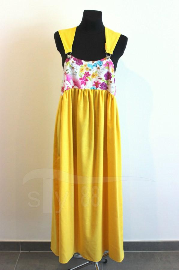 Šaty s laclem - žluté - louka