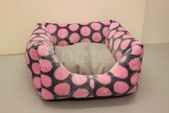 Čtveráček malý - mikroplyš Růžové puntíky - uni šedý Pelechy - Čtveráček