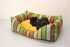 Obdelníček malý - kočárkovina - barevné šípky - žlutooranžový polštář Pelech - Obdelníček