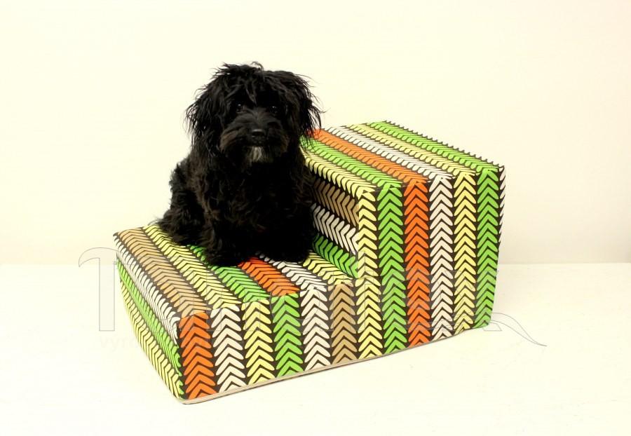 Schody pro psa Slepičí stopa zelená - oranž