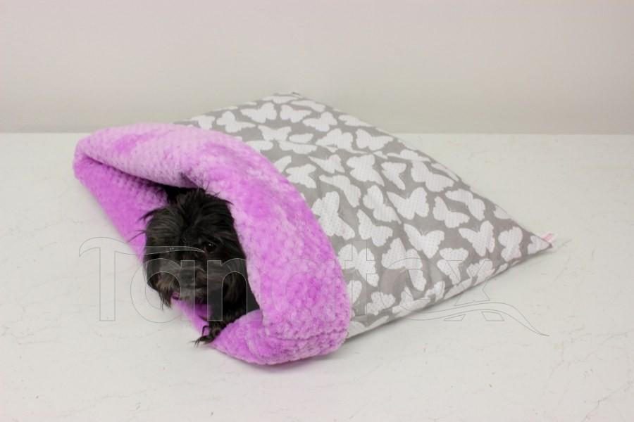 Chumlací pytel - velký Motýlci v šedé s fialovou